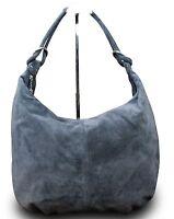 Wildleder Made in Italy  Damen Handtasche Shopper Tasche Shopper Grau