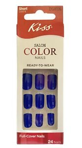 Kiss SALON COLOR Short Length Shiny Royal Blue Nails # DGC04 Shine a Light
