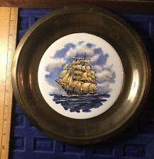 Nautical Brass Plate With Tile Tall Sailing Ship Ocean Insert
