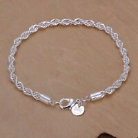 Women 925 Silver Plated Twist Charm Chain Bangle Bracelet Jewelry