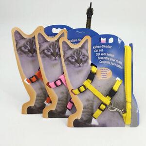 Pet Cat Leash & Harness Set Walking Small Puppy Dog Kitten Adjustable Lead Strap
