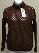 Vintage open knit ladies jumper 1960s UNUSED Acrilan medium brown womens size M