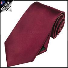 MENS BURGUNDY / MAROON / DARK RED 8.5CM TIE necktie wedding plain formal
