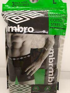 Umbro Mens 3 Pack Boxer Briefs Essential Cotton Stretch M L XL. XXL. Asst. Color