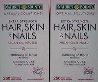 2pk Nature's Bounty Hair Skin & Nails Multivitamin 5000mcg Biotin 250ct Each