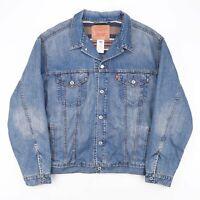 Vintage LEVI'S Standard Trucker Blue 90s Cotton Casual Denim Jacket Mens XL