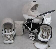 Pram for Cleo ALU Leather -3in1 Stroller buggy Pushchair +Car Seat Swivel Wheels