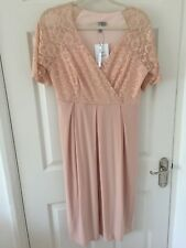 ASOS Pale Pink Peach Nude Lace Maternity Dress BNWT Size 12
