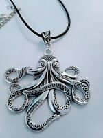 Large octopus pendant necklace, ocean, sea, beach unusual. Gift wrapped