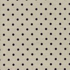 Moda Fabric Homegrown Linen Blend Mochi Dot Black Linen - Per 1/4 Metre