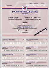 SCHWEIZ Historisches Wertpapier Aktie Fuchs Petrolub AG/SA 200 CHF Franken 1991