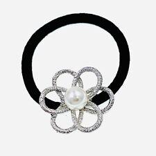 Flower Hair Rope Wrap Rhinestone Crystal Scrunchies Ponytail Holder Silver F18