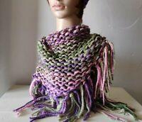 Womens Hand Knit Fringe Scarf Pink green purple tan stripes Triangle Boho Wrap