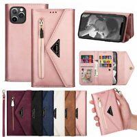 F iPhone 12 11 Pro Max 8 7 6 Plus Magnetic Flip Leather Zipper Wallet Case Cover