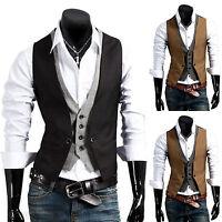 US Mens Casual Suit Vest Slim Dress Formal Waistcoat Business Tuxedo Jacket Coat
