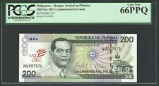 Philippines 200 Piso 2011 P214 Uncirculated Graded 66