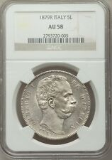 ITALY KINGDOM 1879-R  5 LIRE COIN, ALMOST UNCIRCULATED, NGC CERTIFIED AU58