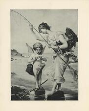 ANTIQUE CUPID GRECIAN WOMAN OCEAN SHRIMP RAKE FISHING POLE BASKET ARROWS PRINT