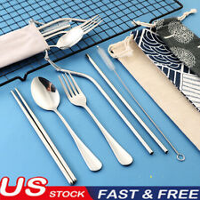 Portable Cute Spoon Fork Chopsticks Travel School Tableware Set Storage Bag US