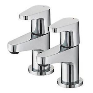 BRISTAN Quest Basin Pillar Taps, Lever Handles, Pair, Chrome Plated, QST 1/2 C