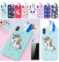 Cute 3D Soft Silicone Unicorn Panda Back Case Cover For Apple iPhone 6 6S 7 8 UK