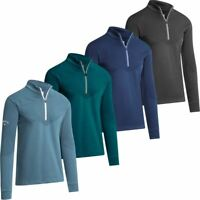 CALLAWAY GOLF MENS PULLOVER 1/4 ZIP RIBBED OTTOMAN THERMAL FLEECE SWEATER 40%OFF