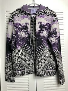 Herve Leger $2550 ADE Purple Jacquard Jacket Zip-Up Hooded Sweater Top S|P