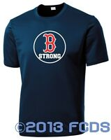 B Strong Boston Marathon Men's Competition Navy T-Shirt Tribute to Runners