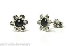 9ct White Gold Sapphire Earrings Flower Studs Made in UK Gift Boxed