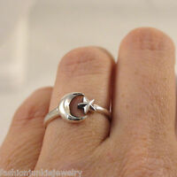 Adjustable Crescent Moon and Star Ring - 925 Sterling Silver - Moon Star Sky NEW