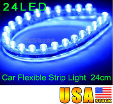 New 24cm Flexible Strip Blue Light Waterproof Lamps 12V 24Led Car Bulbs Replace