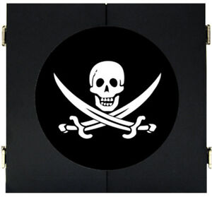 Skull and Sword Pirate Flag Dart Board Dartboard & Cabinet Kit Steel Tip Darts