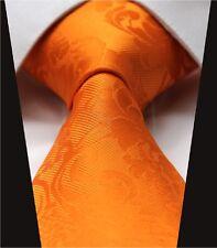 Cravatta da Uomo in Arancione Floreale Mandarino-Paisley Cravatta-Regalo di nozze di seta nuovo