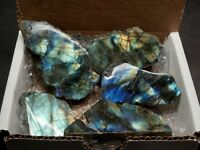 Labradorite Collection Feldspar Polished 1 Side Spectral Flash Cabochons