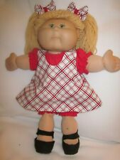 CPK doll clothes/16-18 inch/red plaid jumper/red flannel top/bloomers/hair bows