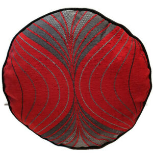 RED PATTERNED  CHINELLE UPHOLSTERY  FABRIC  FAUX LEATHER POUFFE  FLOOR CUSHION