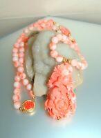 14k Gold Carved Rose Clasp Stunning Carved Angelskin Coral Gemstone Necklace
