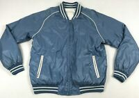 Vintage 70s Bomber Jacket Mens L Large Reversible Satin Blue White Striped 1970s