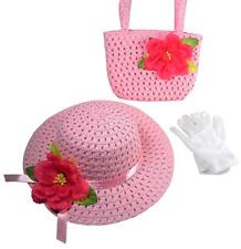Girls Tea Party Dress Up Set Pink Hat Purse White Gloves Costume Birthday Gift