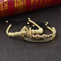 New Luxury Micro Pave CZ Ball Crown Braided Adjustable Bracelets For Women Men