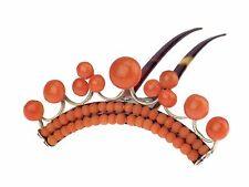Jugendstil 800 Silber Sizilianische Lachs Koralle Horn Steck Haarkamm Haar Kamm