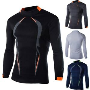 Men Compression Cool Dry Shirt Long Sleeve Under Base Layer Sports Gym Tops