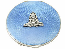 Antique George VI Sterling Silver and Guilloche Enamel Compact