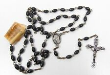 Old Salesman Sample Black Plastic Rosary Beads Original Sales Tag Silver Plastic