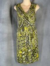 Kenneth Cole Small New Olive Satin Print Sleeveless Dress NWT