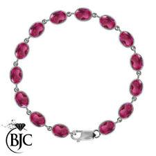 Pulseras de joyería con gemas rosa de plata de ley