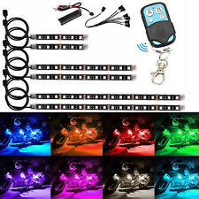 6pcs Motorcycle Atv Rgb Led Neon Under Glow Light Strip Kit For Motorbike car