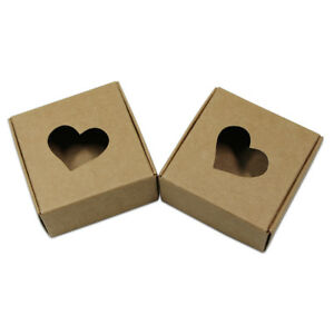 Brown Kraft Paper Wedding Party Gifts Pack Folded Boxes With Heart Shaped Window