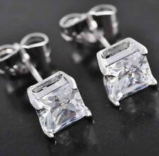 Earrings 14k White Gold Push Back 6.0 ct Princess Cut Solitaire Stud