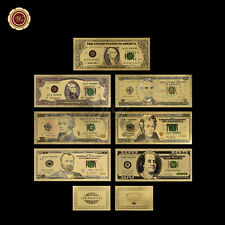 WR $1/2/5/10/20/50/100 Gold US Dollar Bill Full Set 7pcs Color Gold Banknotes